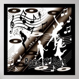 Música de dança do rock and roll do poster pôster
