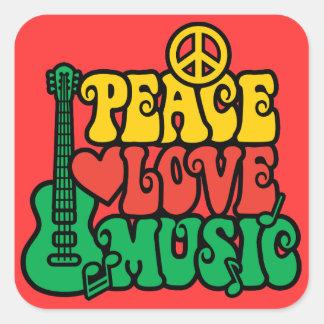 Música do amor da paz da reggae adesivo quadrado