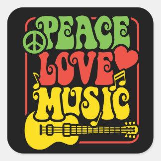 Música do amor da paz de Rasta Adesivo Quadrado
