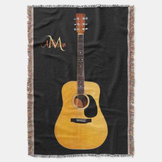 Música do monograma da guitarra acústica throw blanket