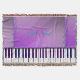 Música roxa do monograma do piano da lavanda throw blanket