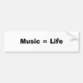 Música = vida adesivo para carro