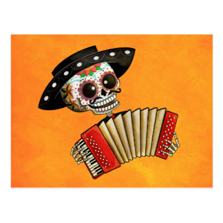 Músico de Diâmetro de Muertos Esqueleto Cartoes Postais