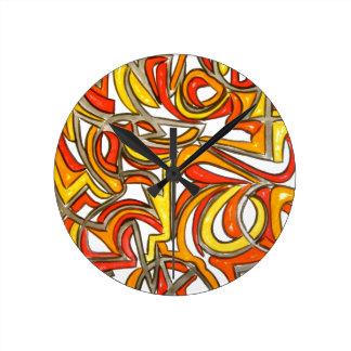 Na Bush-Mão arte abstracta pintada Relógio Redondo