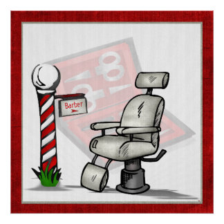 Na decoração da barbearia poster