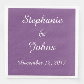 Na moda bonito simples do casamento branco roxo guardanapo de papel de jantar