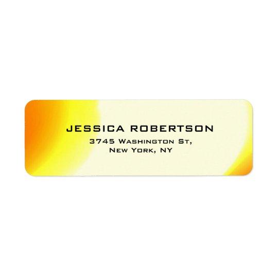 Na moda moderno elegante liso legível amarelo etiqueta endereço de retorno