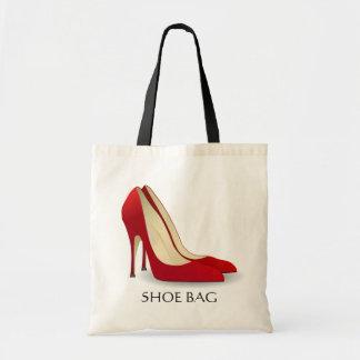 Na moda vermelho do saco dos calçados dos saltos a bolsas de lona