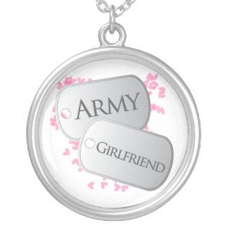 Namorada do exército do dog tags colar com pendente redondo