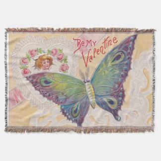 Namorados cor-de-rosa da borboleta do coração da throw blanket