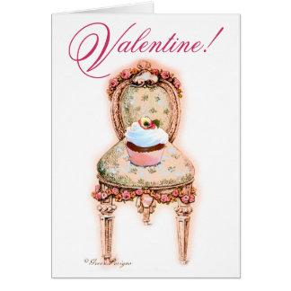 Namorados cor-de-rosa do cupcake cartao