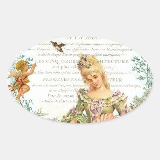 Namorados de Marie Antoinette Adesivo Oval