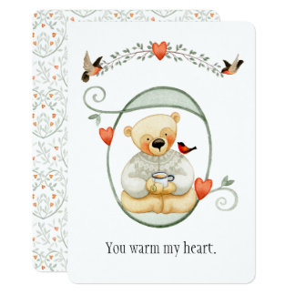 Namorados mornos bonitos do urso do coração convite 12.7 x 17.78cm