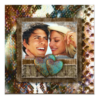 Namorados ocidentais Wedding do noivado da camurça Convite Quadrado 13.35 X 13.35cm