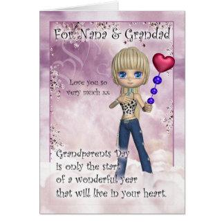 Nana & Grandad, cartão do dia das avós - Littl