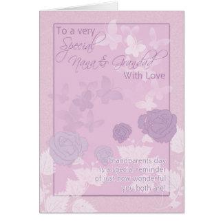 Nana & Grandad, cartão do dia das avós - rosa,