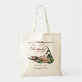 Nantucket que Wedding a sacola floral do mapa do d Bolsas Para Compras