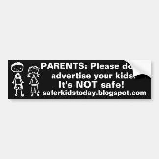 Não anuncie seus miúdos! Autocolante no vidro tras Adesivos
