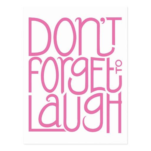 Não esqueça rir o cartão cor-de-rosa cartoes postais