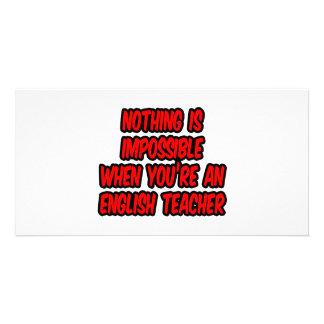 Não há impossíveis… professor de inglês cartão com fotos personalizado