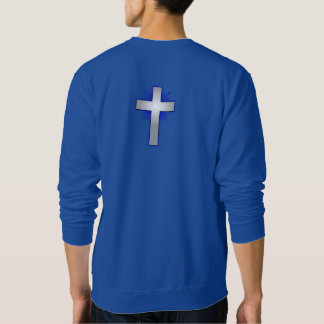 Não preocupe a camisola w/Blue alargou-se cruz Moletom