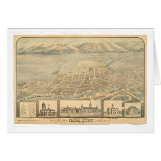 Napa, mapa panorâmico do CA (0684A) Cartão Comemorativo
