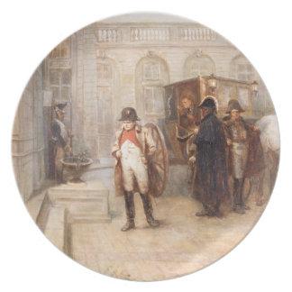 Napoleon após Waterloo (óleo em canvas) Pratos