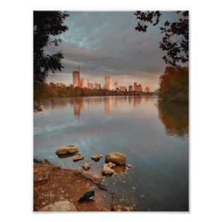 Nascer do sol 2 do lago ladybird - skyline de impressão de foto