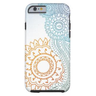Nascer do sol detalhado do abstrato do henna capa para iPhone 6 tough