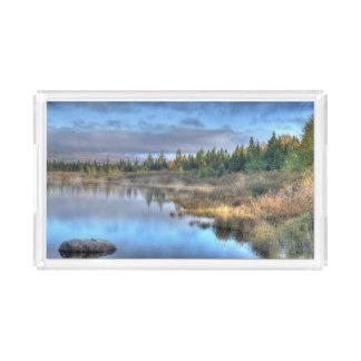 Nascer do sol do outono no lago Maine Moosehead Bandeja De Acrílico