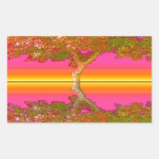 Nascer do sol e por do sol com árvore adesivo retangular