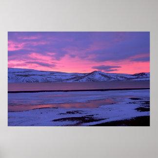 Nascer do sol em Islândia Pôsteres