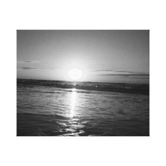 Nascer do sol em preto & no branco impressão em tela