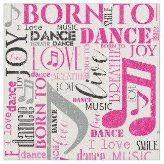 Nascer para dançar ID277 cor-de-rosa/preto Tecido