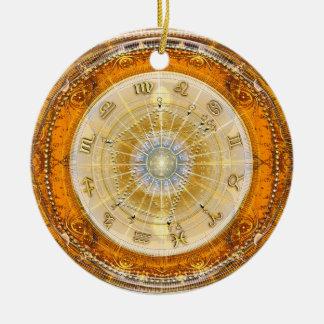 Nascimento real Natal~Chart Ornamento De Cerâmica Redondo
