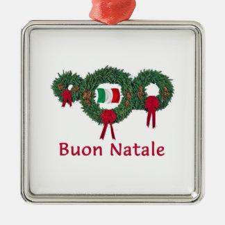 Natal 2 de Italia Ornamento Quadrado Cor Prata