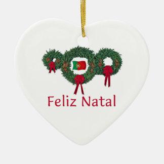 Natal 2 de Portugal Ornamento De Cerâmica Coração