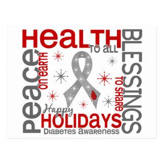 Natal 4 flocos de neve do diabetes cartão postal