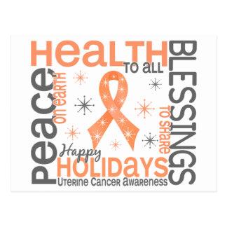 Natal 4 flocos de neve uterinas do cancer cartão postal