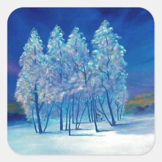 Natal azul #4 adesivo quadrado