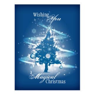 Natal azul da árvore de Natal Cartão Postal