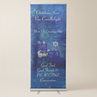 Natal azul da vela banner retrátil
