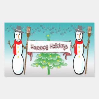 Natal - bonecos de neve, boas festas etiqueta adesivo em forma retangular