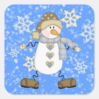 Natal bonito do boneco de neve do floco de neve adesivo quadrado