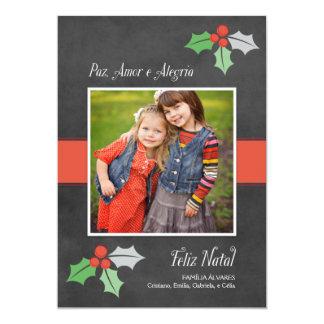 Natal Cartão Fotográfico | Paz Amor e Alegria Convite 12.7 X 17.78cm