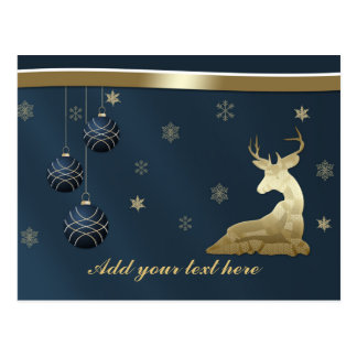 Natal, cervos dourados e flocos de neve cartão postal