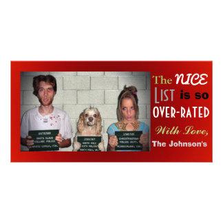 Natal customizável engraçado da foto de família cartão com foto