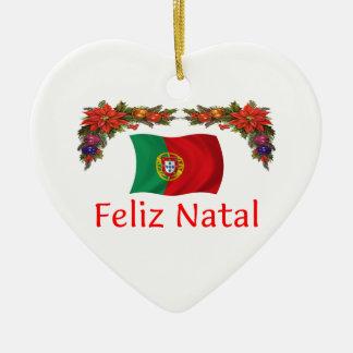 Natal de Portugal Ornamento De Cerâmica Coração