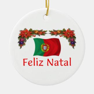 Natal de Portugal Ornamento De Cerâmica Redondo