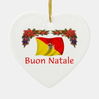 Natal de Sicília Ornamento De Cerâmica Coração